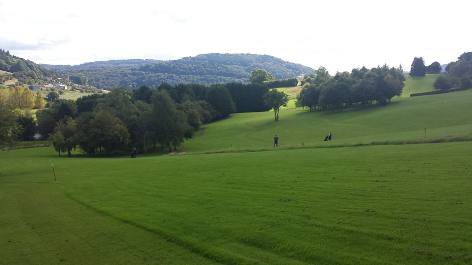 Monmouth GC..Beautiful Views toward Wye Valley and Ricky has pulled his drive